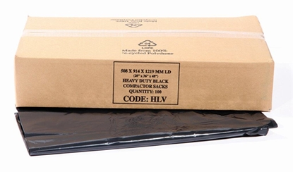 Picture of BLACK HEAVY DUTY COMPACTOR SACK 20x36x48 [100]200G